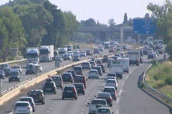 Circulation encombrée à Montpellier sur l'A9 - 22 août 2015
