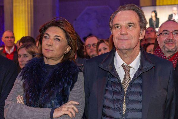 Lors de la cérémonie des voeux pour 2020 au monde économique de la CCI, Martine Vassal présidente d'Aix Marseille Métropole et Renaud Muselier, le président LR de la région Provence-Alpes-Côte-d'Azur.