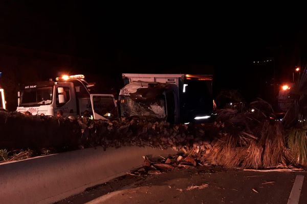 Le camion s'est renversé ce jeudi aux alentours de 3h30 du matin sur l'autoroute A 57 aux portes de Toulon.