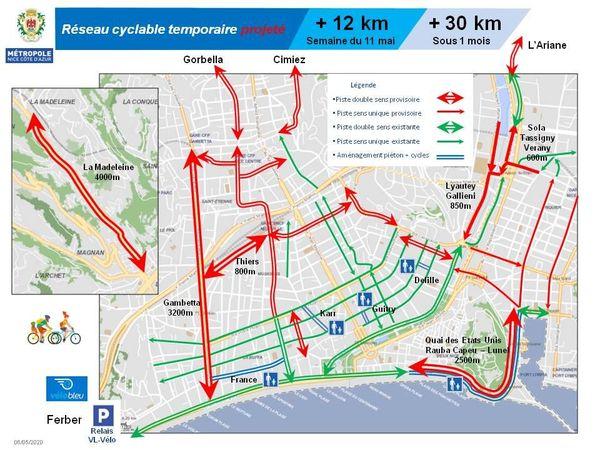 Le plan vélo de Nice : pour le déconfinement les cyclistes découvrent 12 km de nouvelles pistes dès le 11 mai.