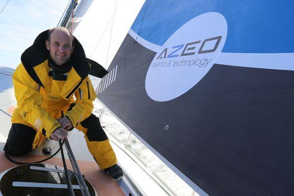 Maxime Cauwe, à bord de son bateau Azéo, avant sa première transat en solitaire la Route du Rhum 2018.