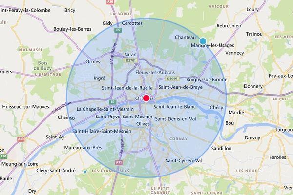 Le rayon de 10km autorisé pour circuler autour d'Orléans
