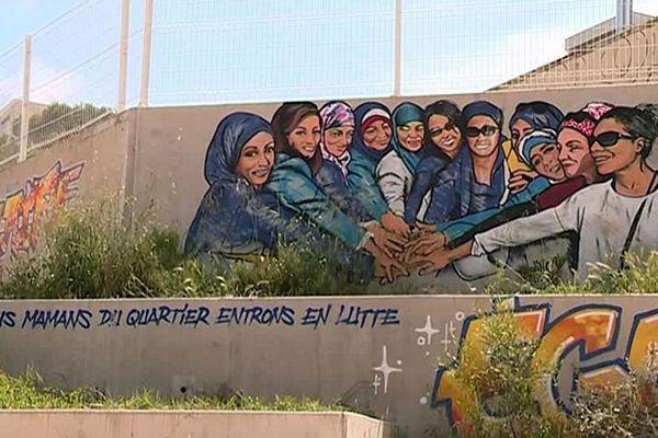 Graffiti en hommage à l'action des Mères du Petit Bard, à Montpellier.