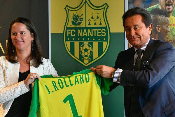 La maire de Nantes Johanna Rolland au côté du Président du FC Nantes Waldemar Kita, en septembre 2017