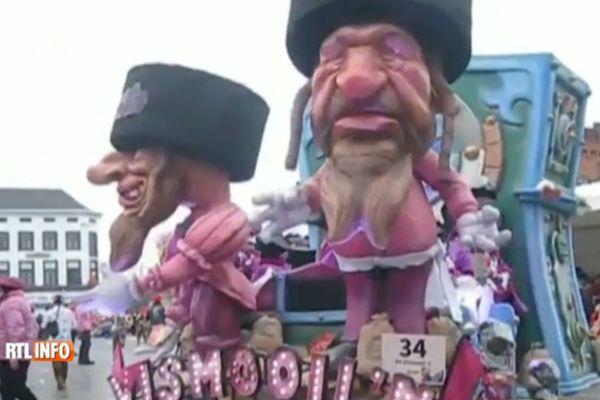 Des caricatures aux relents antisémitiques sur un char du carnaval d'Alost en Belgique.