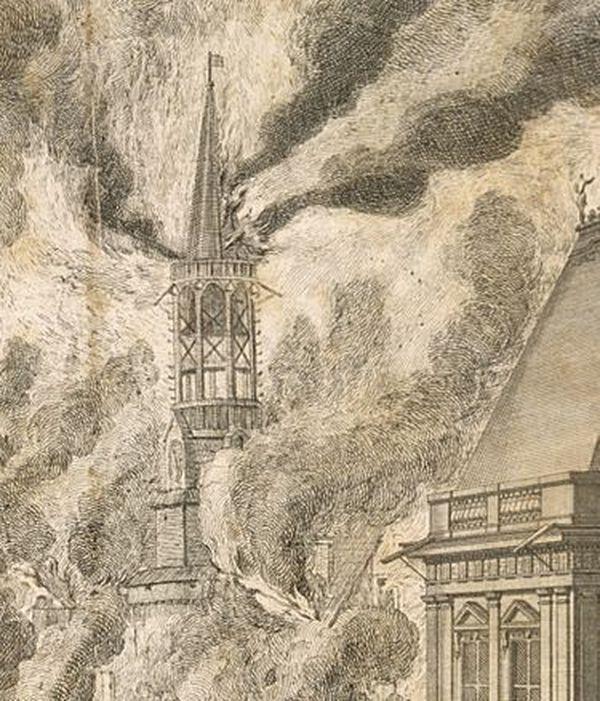 En 1720, l'incendie touche le beffroi à Rennes