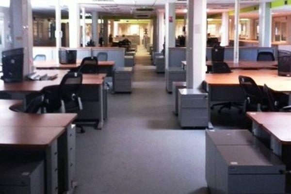 Les bureaux vides de SkyAircraft, une des entreprises qui a disparu en 2013 en Lorraine.