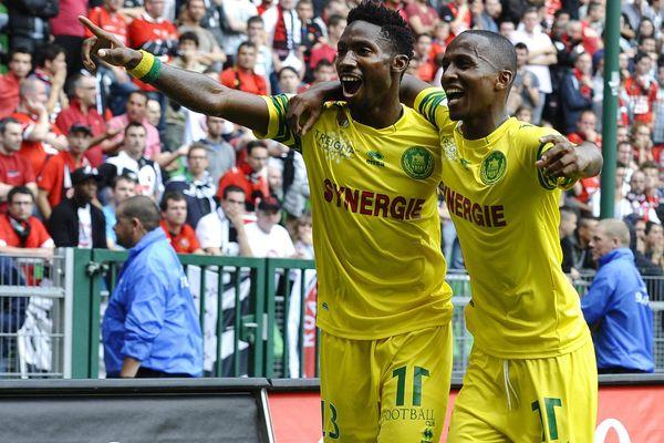 La joie de Gakpe et Alhadhur lors du match aller