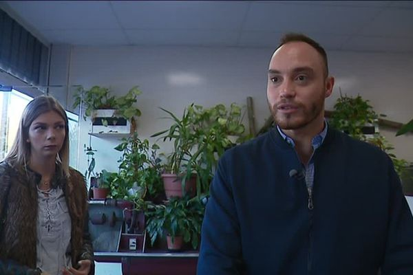 Alexis Jolly candidat à la mairie d'Echirolles pour les municipales de 2020, et Chloé Bailly (2è sur la liste du RN)