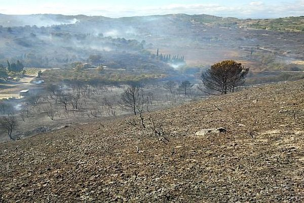 Narbonne (Aude) - un incendie a ravagé 30 hectares de végétation, 3 maisons et 3 voitures - 19 septembre 2013.
