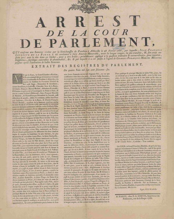 """Dans le compte rendu du jugement en appel, le Parlement de Paris détaille très précisément la façon dont de La Barre doit être exécuté, entre autres pour avoir """"proféré des blasphèmes énormes et exécrables""""."""