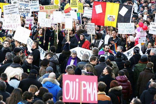 Paris, janvier 2013, plus de 100.000 personnes manifestent pour le passage au parlement du mariage pour tous et de l'accès à l'adoption et à la PMA pour les couples homosexuels.