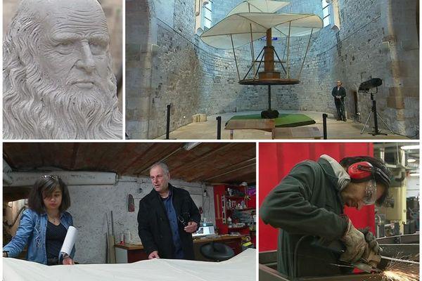La Vis aérienne de Léonard de Vinci, la plus grande jamais réalisée, a été fabriquée à Orléans en mars 2019 avant d'être exposée à la Collégiale Saint Pierre-le-Puellier.