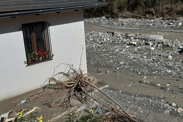 À Tende (Alpes-Maritimes), une habitation en situation de péril imminent après le passage de la tempête Alex le 2 octobre 2020.