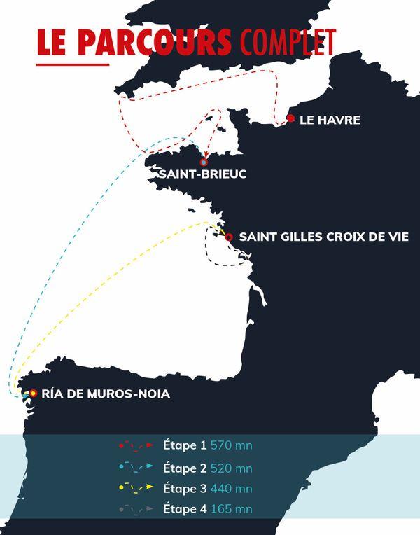 Le parcours de la 49e édition de la Solitaire Urgo Le Figaro se compose de 4 étapes.