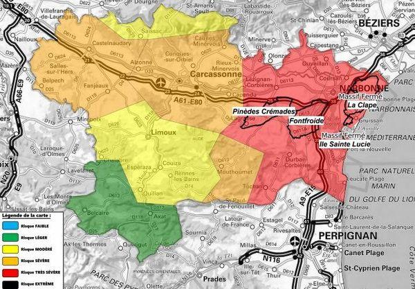 Carte des riques incendie dans l'Aude - 3 août 2020.