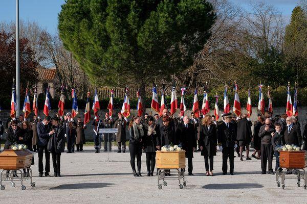 Trèbes (Aude) - cérémonie en hommage aux 3 victimes civiles des attentats de l'Aude, Jean Mazières, 61 ans, Christian Medves, 50 ans et Hervé Sosna, 65 ans - 29 mars 2018.