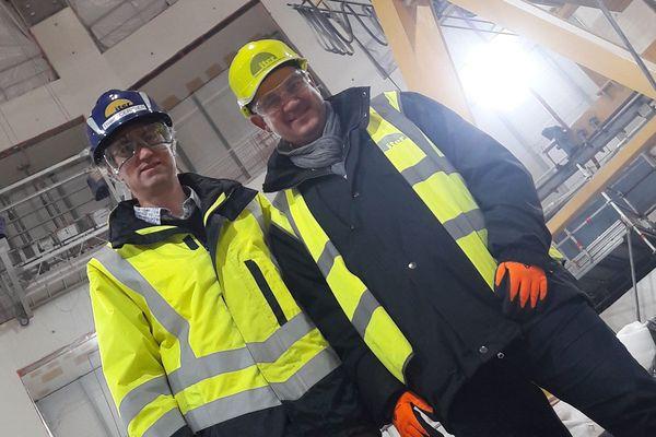 Thierry Cerisier, ingénieur ITER, et Frédéric Soulié lors de l'enregistrement de l'émission Vaqui pour France 3.