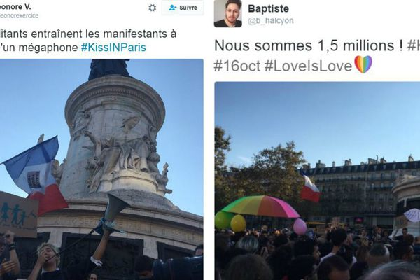 Photos du tweets du Kiss In, place de la République, à Paris.
