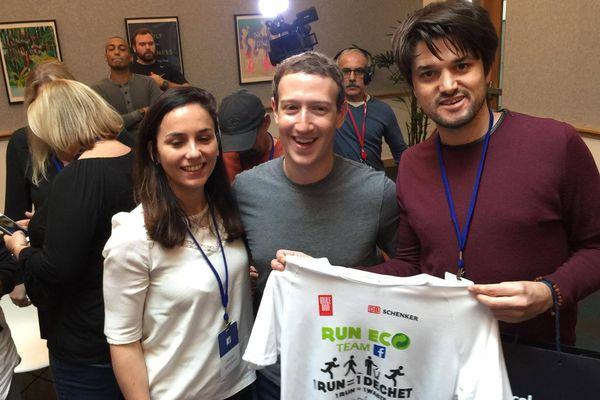 Nicolas Lemonnier (à droite) reçu par Mark Zuckerberg le patron de Facebook
