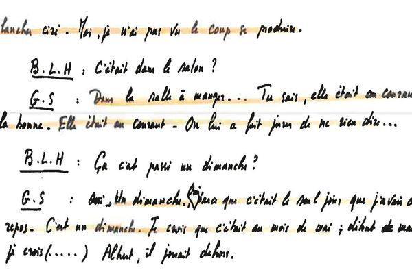 Un extrait de la retranscription d'une conversation entre Bernard Le Her et Petit Guillaume