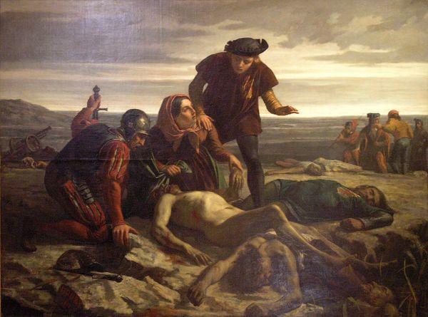 """""""La découverte du corps de Charles le Téméraire après la Bataille de Nancy"""", par François Pupil (1477)"""