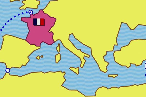 Trajet des vedettes de Cherbourg