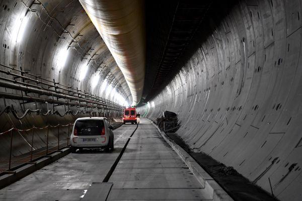 Le tunnel de la future liaison ferroviaire Lyon-Turin, le 1er février 2019, lors d'un visite de l'ancienne ministre des Transports Elisabeth Borne.