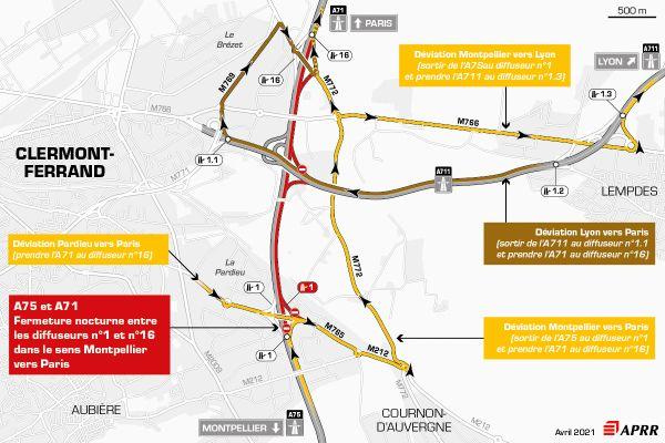 Le 13 avril, la circulation sera déviée sur l'autoroute A75 près de Clermont-Ferrand.