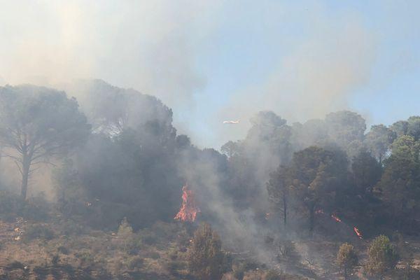 Pyrénées-Orientales - Incendie entre Maury et Tautavel, le 26 août 2021.