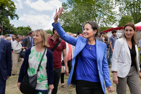 Ségolene Royal, ministre de l'écologie du developpement durable et de l'énergie lors de sa venue a la fête du Marais Poitevin ou elle vient décerner le Label de parc naturel régional le 15 juin 2014