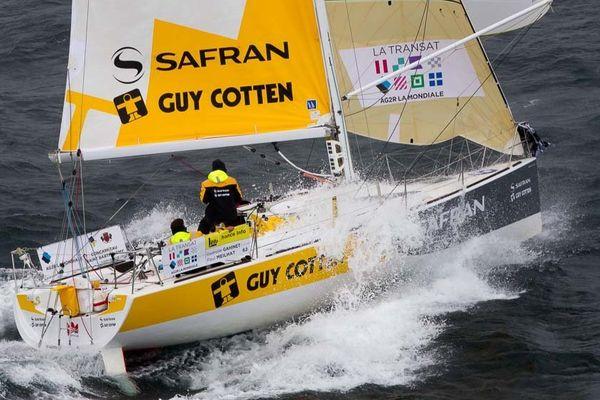 Gwenole Gahinet et Paul Meilhat a bord du Figaro Safran-Guy Cotten lors de la Transat AG2R LA MONDIALE 2014 - le 26/04/2014  (815409)