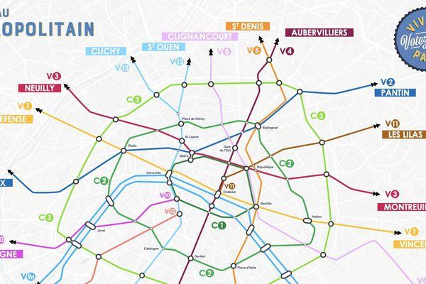 Le réseau Vélopolitain, proposé par plusieurs associations de cyclistes, en 2020.