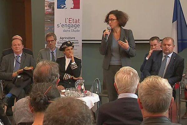 Carcassonne - Emmanuelle Wargon, la secrétaire d'Etat auprès de la ministre de la Transition écologique et solidaire en visite dans l'Aude - 28 octobre 2019.