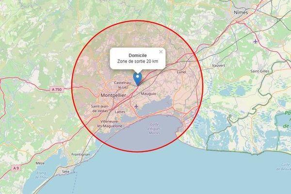 Comment calculer les 20 kms ? Un exemple avec le site: carte-sortie-confinement.fr