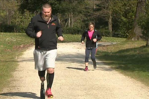 Jérôme et Muriel à l'entraînement pour le marathon nocturne de Bordeaux