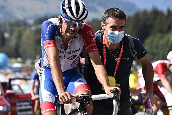Thibaut Pinot à l'arrivée de la cinquième étape du Critérium du Dauphiné 2020.