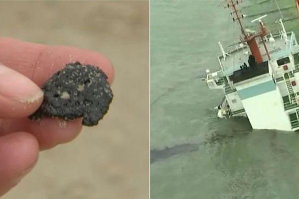 Des petites boulettes de fioul provenant du Flinterstar ont échoué sur la plage de dunkerque à la mi-octobre.