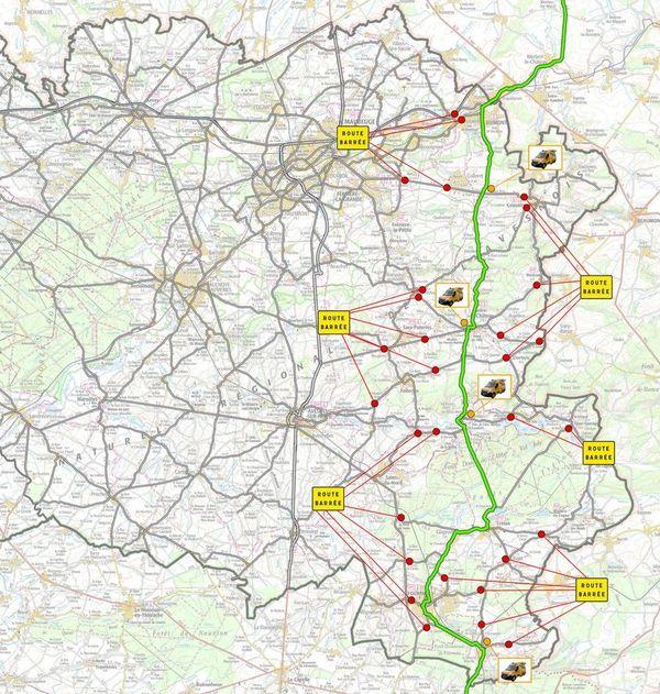La carte des axes coupés le lundi 8 juillet dans le Nord.