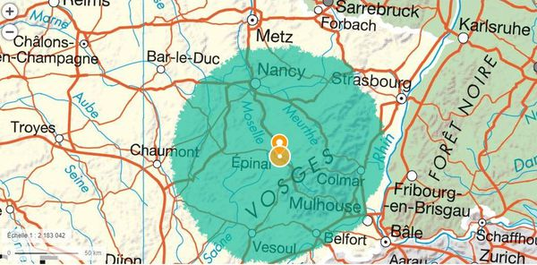 Le cercle magique des 100 km autour d'Epinal