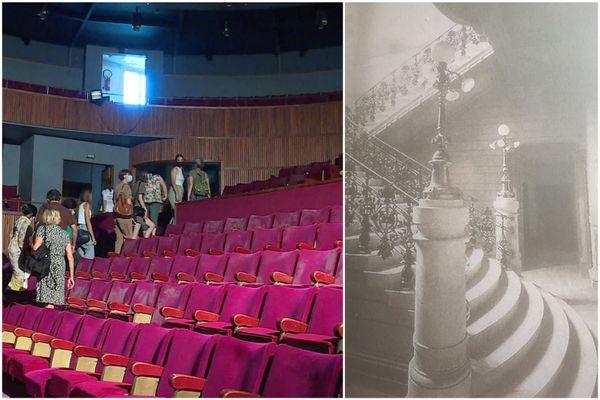 Les sièges de couleur grenat sont toujours là, bien que couverts de poussière. Et le grand escalier aussi, que cette image d'archive en noir et blanc montre du temps de sa splendeur.