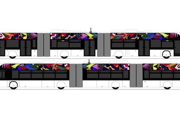 "e-busway de Nantes, ""Allure"" œuvre de Karina Bisch"