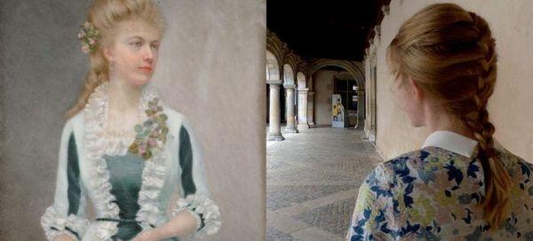 Un des duos de Sabine Varlet projeté sur la façade du musée des Beaux-Arts de Besançon