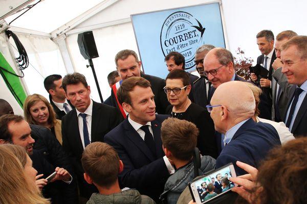 Le Président de la République Emmanuel Macron en visite à Ornans (Doubs) ce lundi 10 juin 2019.