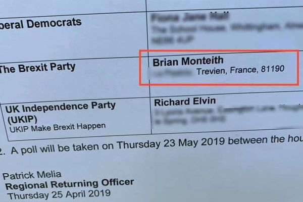 C'est dans un document que l'adresse en France de Brian Monteith est apparue.
