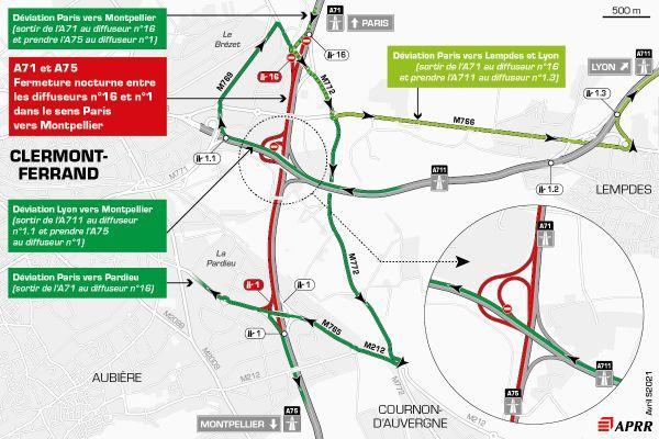 Le 14 avril, la circulation sera déviée sur l'autoroute A75 près de Clermont-Ferrand.