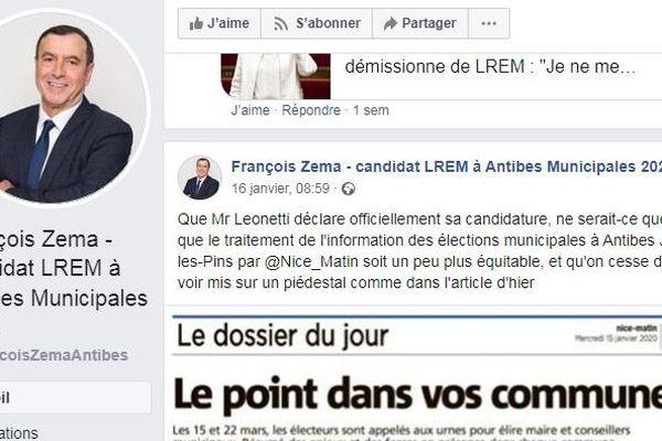 Post FB de François zema candidat LREM à Antibes