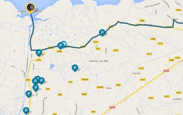 Où se garer à proximité du Mont Saint Michel - Tour de France 2016 1ère étape - 2 juillet 2016 (cliquez sur l'image pour l'agrandir)