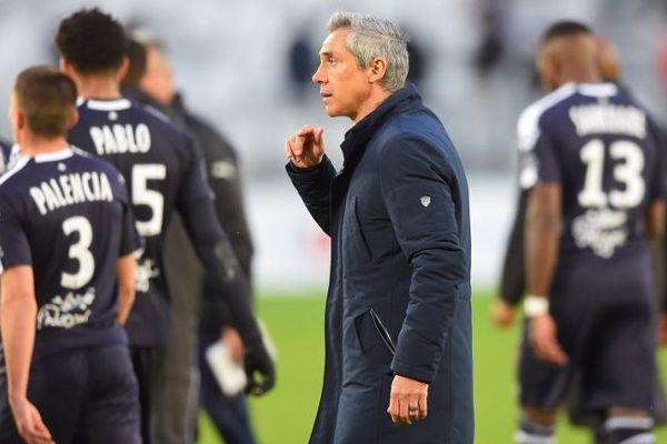 Le  nouveau coach des Girondins,  Paulo Sousa, à l'a fin du match entre sa formation et le Stade Rennais. le 17 mars au Matmut Atlantique à Bordeaux.