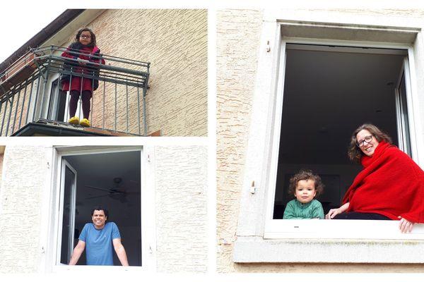 Ségolène et sa petite famille, rue du Nid de cigognes à Kehl le 3 avril 2020